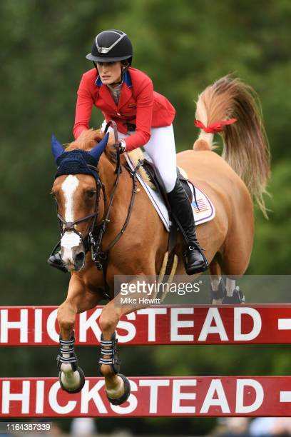 Jessica Springsteen of USA on Volage Du Val Henry in action during The Longines FEI Jumping Nations Cup of Great Britain on July 26, 2019 in...