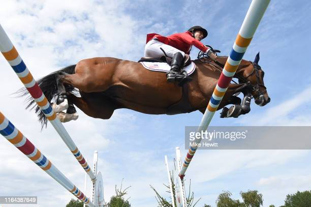 Jessica Springsteen of USA on Volage Du Val Henry in action during The Longines FEI Jumping Nations Cup of Great Britain on July 26 2019 in Hickstead...