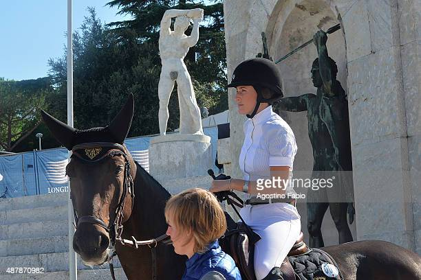 Jessica Springsteen participates in the longines global champions tour 2015 wearing a gucci uniform on September 12 2015 in Rome