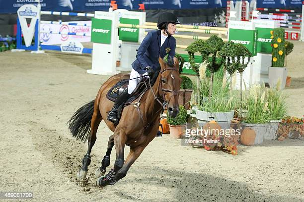 Jessica Springsteen participates the Mercedes-Benz Championat during the Vienna Masters on September 18, 2015 in Vienna, Austria.