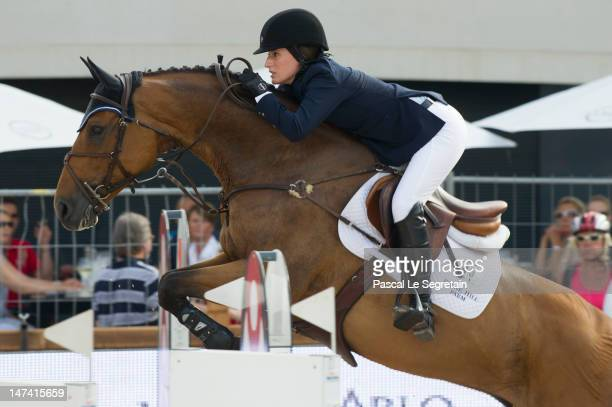 Jessica Springsteen rides Temmie during the Prix SBM race at the Monaco International Jumping as part of Global Champion Tour on June 29, 2012 in...
