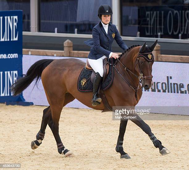 Jessica Springsteen riding Lisona during the Longines Global Champions Tour at Horse Guards Parade on August 15 2014 in London England