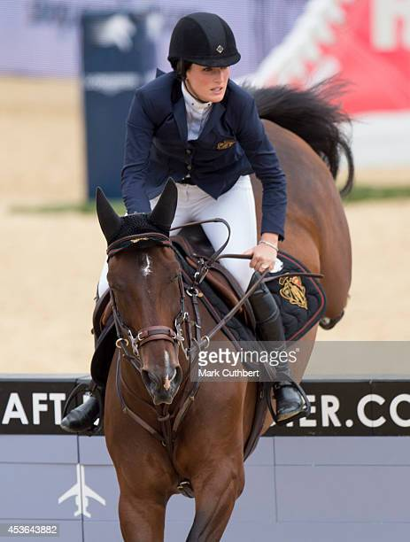 Jessica Springsteen riding 'Lisona' during the Longines Global Champions Tour at Horse Guards Parade on August 15 2014 in London England