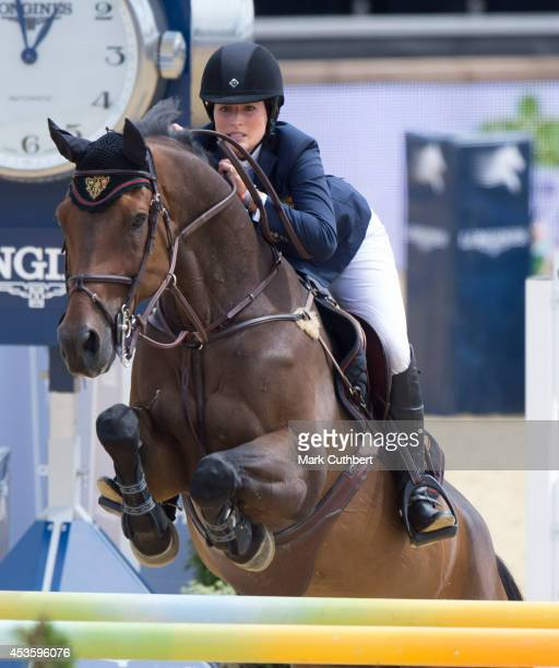 """Jessica Springsteen riding """"Vindicat W"""" during the Longines Global Champions Tour at Horse Guards Parade on August 14, 2014 in London, England."""