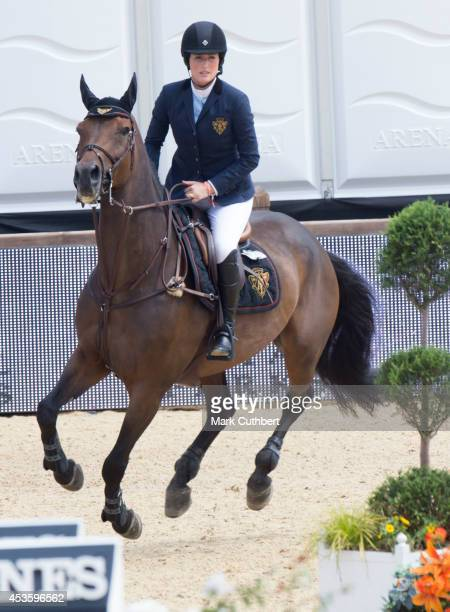 Jessica Springsteen riding Vindicat W during the Longines Global Champions Tour at Horse Guards Parade on August 14 2014 in London England