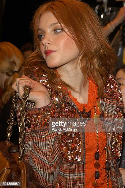 Jessica Stam attends Anna Sui Fall 2005 Fashion Show at The Tent at Bryant Park on February 9 2005 in New York City