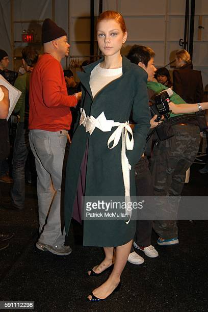 Jessica Stam attends Richard Chai Fall 2005 Fashion Show at The Plaza Tent at Bryant Park on February 5 2005 in New York City