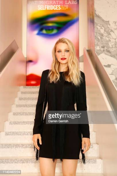 Jessica Stam attends the Pat McGrath 'A Technicolour Odyssey' Campaign launch party at Brasserie of Light Selfridges on April 04 2019 in London...