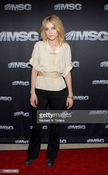 Jessica Stam attends the premiere of 'The Summer of 86 The Rise and Fall of the World Champion Mets' at MSG Studios on February 8 2011 in New York...