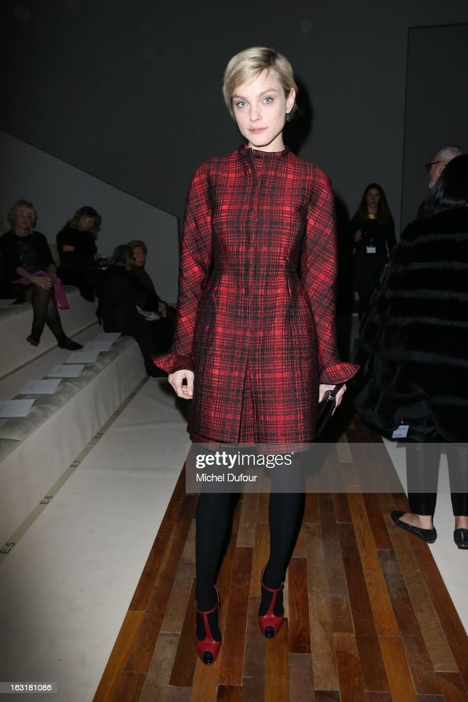 Jessica Stam attends the Valentino Fall/Winter 2013 Ready-to-Wear show as part of Paris Fashion Week on March 5, 2013 in Paris, France.