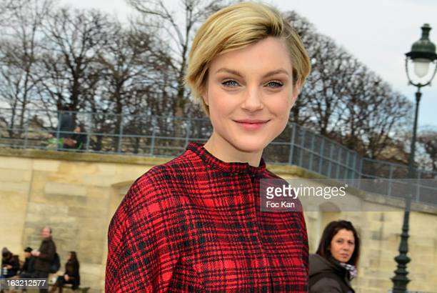 Jessica Stam attends the Valentino Outside Arrivals PFW F/W 2013 at the Espace Ephemere des Tuileries on March 5 2013 in Paris France