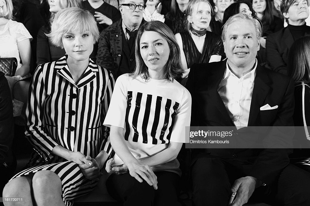 Jessica Stam, director Sofia Coppola and CEO of Marc Jacobs Robert Duffy attend the Marc Jacobs Collection Fall 2013 fashion show during Mercedes-Benz Fashion Week at New York Armory on February 14, 2013 in New York City.