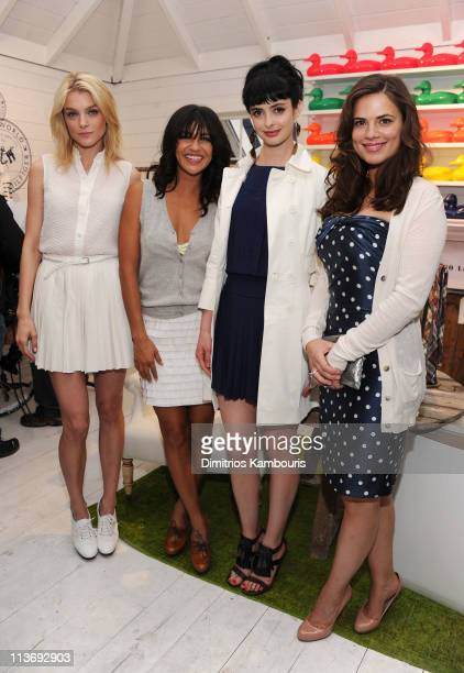 Jessica Stam Jessica Szohr Krysten Ritter and Hayley Atwell attend the launch of Prep World NYC at Pop Up House on May 4 2011 in New York City