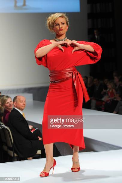 Jessica Steen walks the runway during the Heart Truth fashion show at The Carlu on March 8 2012 in Toronto Canada