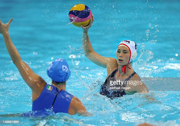 Jessica Steffens of the United States looks to play a pass in the women's water polo quarter final between Italy and the United States on Day 9 of...