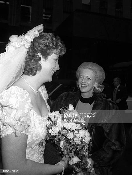 Jessica Steinbrenner and mother Joan Steinbrenner attend Jessica SteinbrennerJoseph Malloy Wedding Ceremony on November 7 1987 at St Patrick's...
