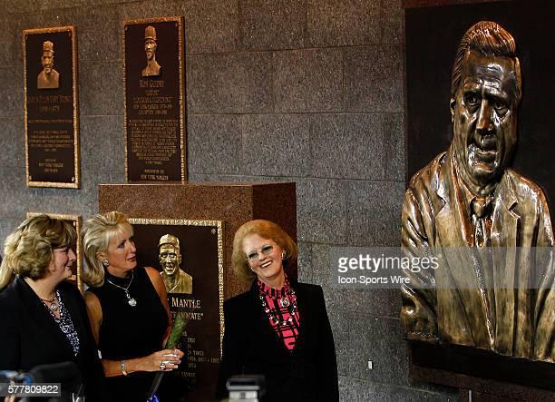 Jessica Steinbrenner Jennifer Swindal Steinbrenner and Joan Steinbrenner looks on as a plaque in memory of George Steinbrenner is unveiled in...