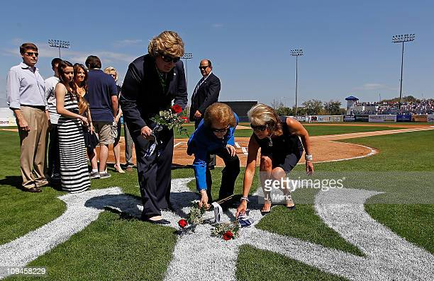 Jessica Steinbrenner Joan Steinbrenner and Jennifer Steinbrenner Swindal place roses on the Yankee Logo as a tribute to the late George Steinbrenner...