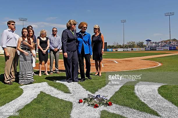 Jessica Steinbrenner Joan Steinbrenner and Jennifer Steinbrenner Swindal place roses on the Yankee Logo just before the start of the Grapefruit...