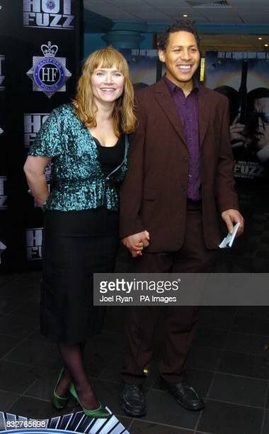 Jessica Stevenson and guest at the Hot Fuzz premiere after party in central London