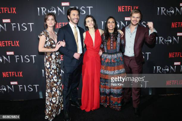 Jessica Stroup Tom Pelphrey Jessica Henwick Rosario Dawson and Finn Jones attend Marvel's Iron Fist New York Screening at AMC Empire 25 Times Square...