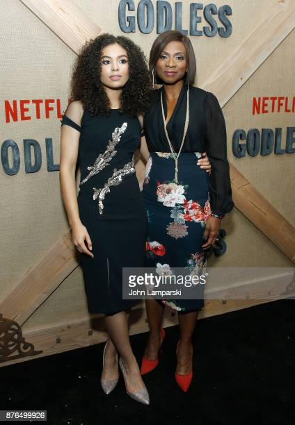 Jessica Sula and Elisa Perry attend 'Godless' New York premiere at The Metrograph on November 19 2017 in New York City