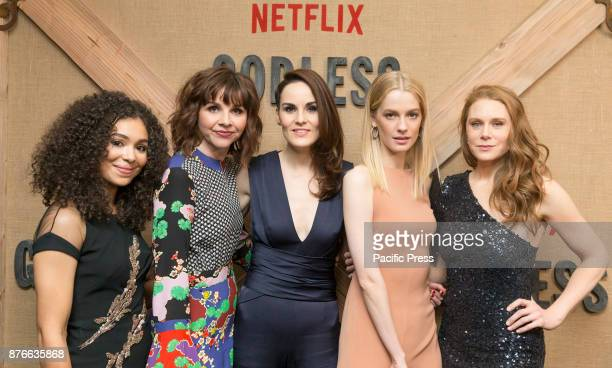Jessica Sula Audrey Moore Michelle Dockery Tess Frazer Christiane Seidel attend Netflix Godless premiere at Metrograph