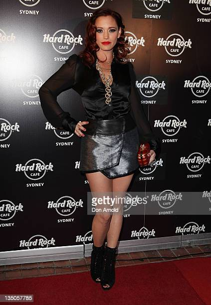 Jessica Sutta arrives at the Hard Rock Cafe official opening at Darling Harbour on December 6 2011 in Sydney Australia