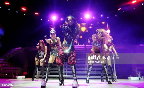 Jessica Sutta Kimberly Wyatt Nicole Scherzinger Ashley Roberts and Melody Thornton of the Pussycat Dolls perform at the O2 Arena on January 27 2009...