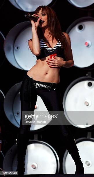 Jessica Sutta of the Pussycat Dolls performs on stage during the Live Earth London concert at Wembley Stadium July 7 2007 in London England Live...