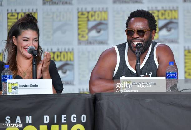 Jessica Szohr and Chad L Coleman speak at The Orville Panel during 2019 ComicCon International at San Diego Convention Center on July 20 2019 in San...
