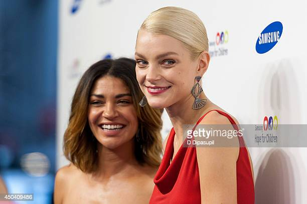 Jessica Szohr and Jessica Stam attend the 13th Annual Samsung Hope For Children Gala at Cipriani Wall Street on June 10 2014 in New York City
