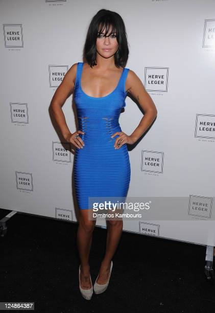 Jessica Szohr attends the Herve Leger by Max Azria Spring 2012 fashion show during Mercedes-Benz Fashion Week at The Theater at Lincoln Center on...