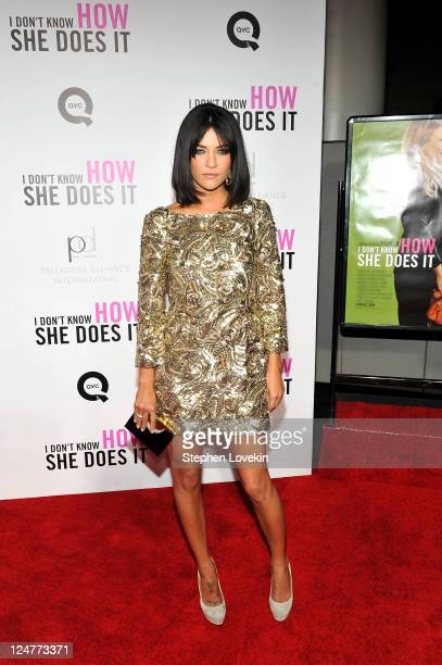 Jessica Szohr attends the premiere of The Weinstein Company's I Don't Know How She Does It sponsored by QVC Palladium Jewelry at AMC Lincoln Square...