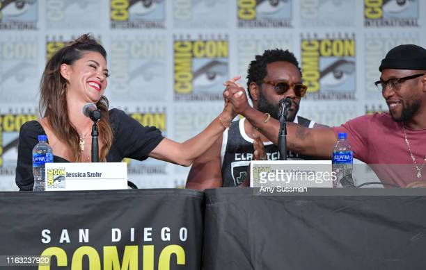 Jessica Szohr Chad L Coleman and J Lee speak at The Orville Panel during 2019 ComicCon International at San Diego Convention Center on July 20 2019...