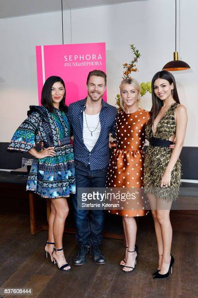 Jessica Szohr Derek Hough Julianne Hough and Victoria Justice attend Nina Dobrev celebrates the harper by Harper's BAZAAR September Issue with an...