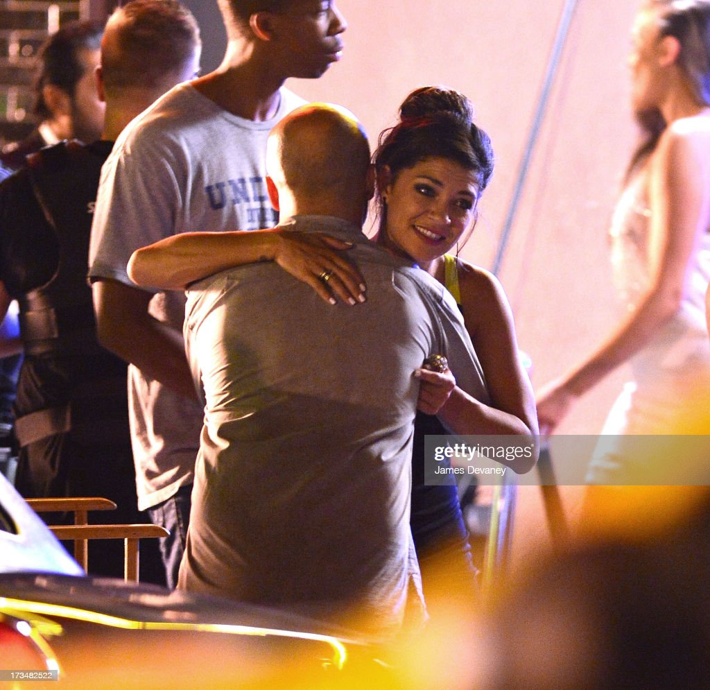 Jessica Szohr seen on the set of 'The Life' on July 14, 2013 in New York City.
