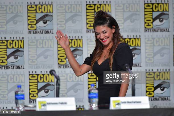 Jessica Szohr speaks at The Orville Panel during 2019 ComicCon International at San Diego Convention Center on July 20 2019 in San Diego California