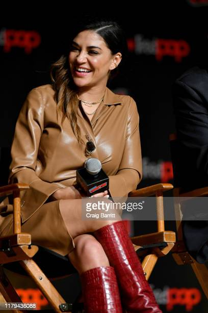 Jessica Szohr speaks on stage during Hulu's The Orville at New York Comic Con 2019 Day 4 at Jacob K Javits Convention Center on October 06 2019 in...