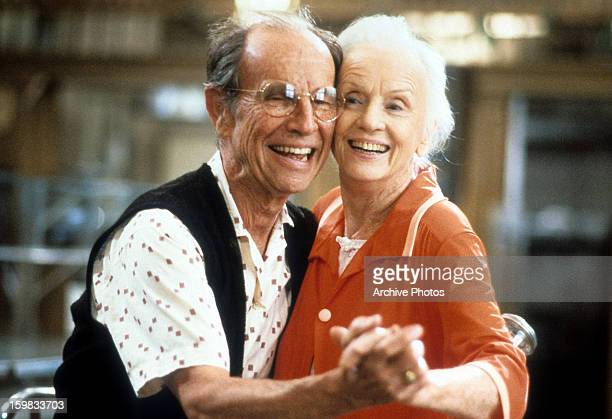 Jessica Tandy and Hume Cronyn dancing in a scene from the film 'CocoonThe Return' 1988
