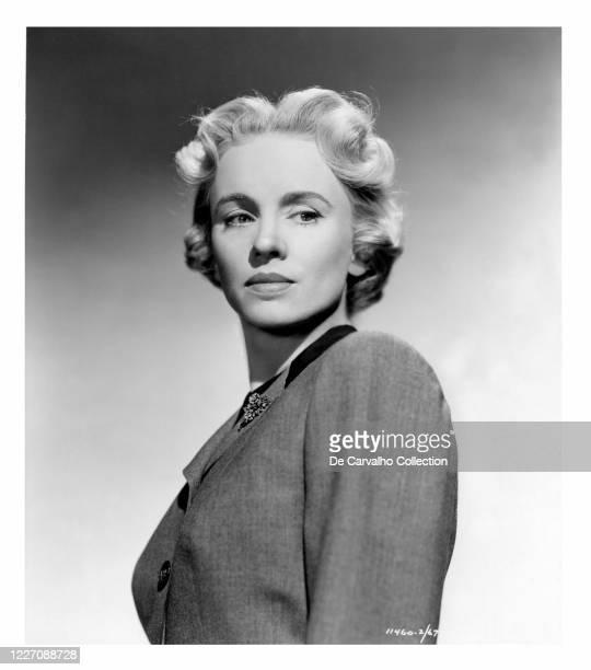 Jessica Tandy with blonde hair as 'Catherine Lawrence' in a publicity shot from the movie 'September Affair' United States