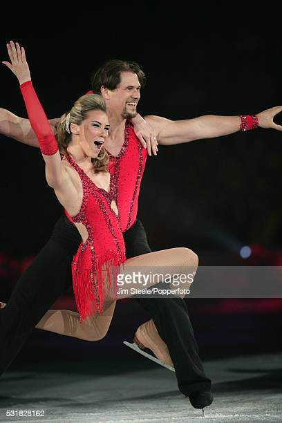 Jessica Taylor and Pavel Aubrecht perform during the 'Dancing on Ice - The Bolero 25th Anniversary Tour' at Wembley Arena in London on the 10th...