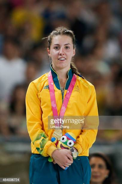 Jessica Thornton of Australia celebrates during the medal ceremony after the Women's 400m Final of Nanjing 2014 Summer Youth Olympic Games at the...