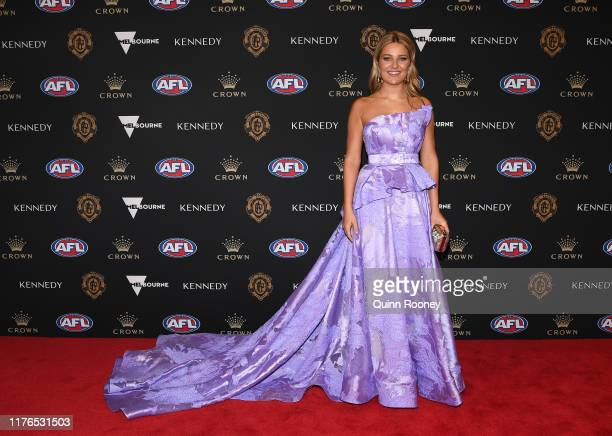 Jessica Todd the partner of Max Gawn of the Demons arrives ahead of the 2019 Brownlow Medal at Crown Palladium on September 23, 2019 in Melbourne,...