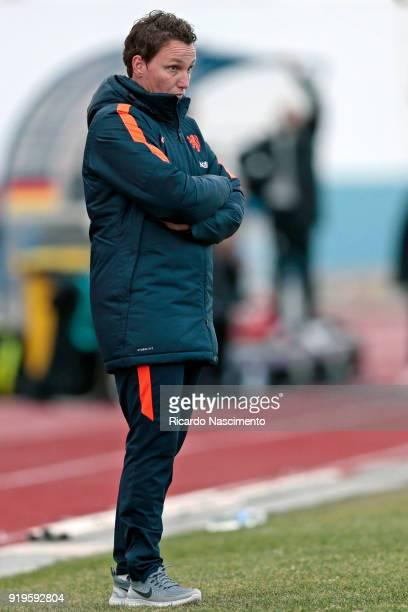 Jessica Torny Head Coach of U17 Girls Netherlands gestures during UEFA Development Tournament match between U16 Girls Germany and U16 Girls...