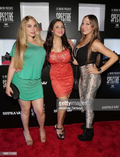 Jessica Torres Ana Maria Reyes and Melanie Sterner attend as Lil Wayne Hosts SPECTRE By SUPRA Launch In Miami on May 3 2013 in Miami Florida