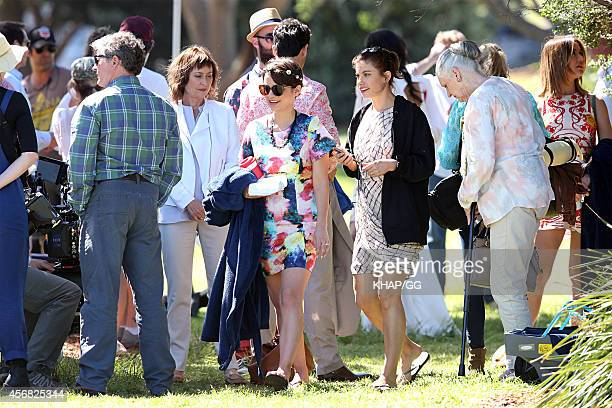 Jessica Tovey and Brooke Satchwell on the set of the series finale of network Ten's 'Wonderland' on October 7 2014 in Sydney Australia