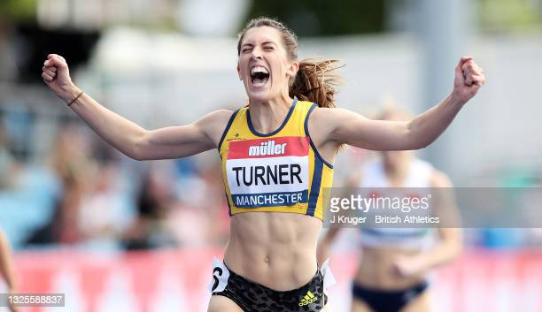 Jessica Turner of Amber Valley celebrates winning the Womens 400m Hurdles Final during Day Two of the Muller British Athletics Championships at...