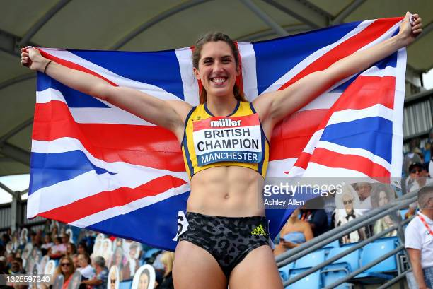 Jessica Turner of Amber Valley poses for photographs after winning the Womens 400m Hurdles Final on Day Two of the Muller British Athletics...