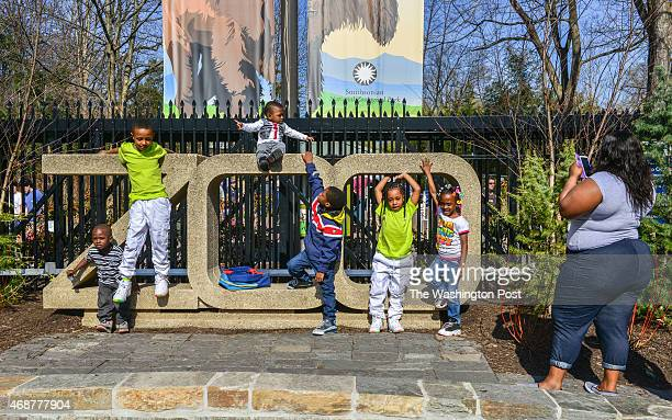 Jessica Turner right takes a snapshot of her children and godchildren on the sign out in front during the annual Family Day at the National Zoo on...